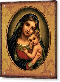 Acrylic Print featuring the mixed media Oval Madonna  by Ananda Vdovic