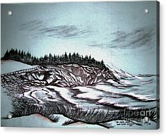 Acrylic Print featuring the drawing Oven's Park Nova Scotia by Janice Rae Pariza