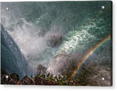 Over The Falls Acrylic Print by Linda Unger