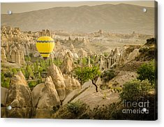 Balloon Over White Valley - Cappadocia Turkey Acrylic Print by OUAP Photography