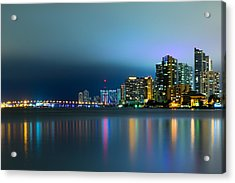 Overcast Miami Night Skyline Acrylic Print
