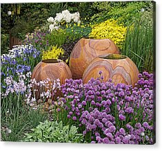 Overflowing Joy In The Flower Graden Acrylic Print by Gill Billington