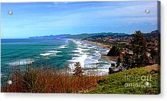 Overlooking Proposal Rock Cape Lookout Haystack Rock And Cape Kiwanda Acrylic Print by Margaret Hood
