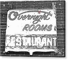 Overnight Rooms Sign Acrylic Print by Nina Silver