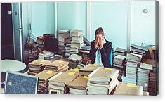 Overworked Office Worker, Bureaucracy, Archives Acrylic Print by Matjaz Slanic