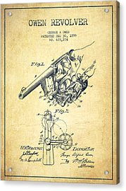 Owen Revolver Patent Drawing From 1899- Vintage Acrylic Print by Aged Pixel