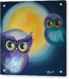 Acrylic Print featuring the painting Owl Be Watching You by Agata Lindquist