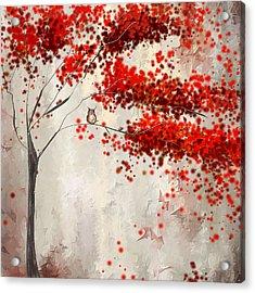 Owl In Autumn Acrylic Print by Lourry Legarde