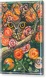 Owl In Orange Blossoms Acrylic Print by M E Wood