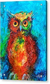 Acrylic Print featuring the painting Owl In The Night by Faruk Koksal