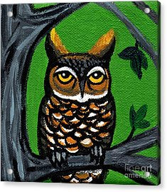 Owl In Tree With Green Background Acrylic Print by Genevieve Esson