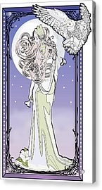 Acrylic Print featuring the digital art Owl Maiden by Penny Collins