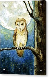 Acrylic Print featuring the painting Owl Moon by Terry Webb Harshman