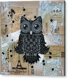 Owl On Burlap1 Acrylic Print by Kyle Wood