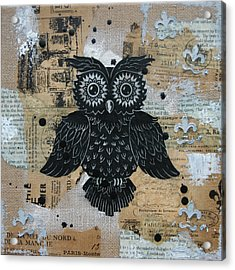 Owl On Burlap2 Acrylic Print by Kyle Wood