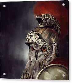 Owl Roman Warrior Acrylic Print by Lourry Legarde