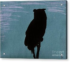 Acrylic Print featuring the drawing Owl Silhouette by D Hackett
