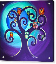Acrylic Print featuring the mixed media Owl Sweet Family by Agata Lindquist