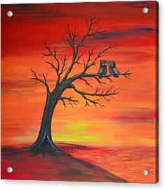 Acrylic Print featuring the painting Owl Tell You Something by Agata Lindquist