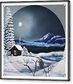 Owl Watch On A Cold Winter's Night In The Round  Acrylic Print