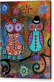 Owl Wedding Dia De Los Muertos Acrylic Print