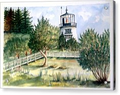 Acrylic Print featuring the painting Owls Head Maine Lighthouse by Richard Benson