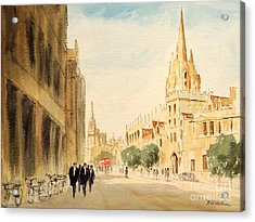 Acrylic Print featuring the painting Oxford High Street by Bill Holkham