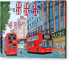Acrylic Print featuring the painting Oxford Street- Queen's Diamond Jubilee  by Magdalena Frohnsdorff