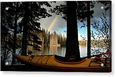 Oyama Lake - Kayaking Acrylic Print by Guy Hoffman