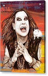 Ozzy Osbourne Long Stylised Drawing Art Poster Acrylic Print by Kim Wang