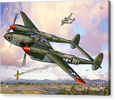 P-38f Lightning Sicilian Summer Acrylic Print by Stu Shepherd