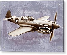 P 40 N Warhawk Airplane In World War 2 - Stylised Modern Drawing Art Sketch Acrylic Print by Kim Wang