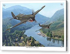 P-40 Warhawks Of The 23rd Fg Acrylic Print by Mark Karvon