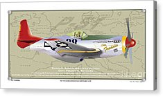 Acrylic Print featuring the drawing P-51  by Kenneth De Tore