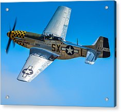 P-51 Mustang Break Out Roll Acrylic Print by Puget  Exposure