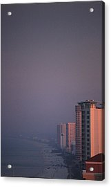 Panama City Beach In The Morning Mist Acrylic Print