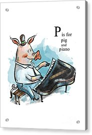 P Is For Pig Acrylic Print by Sean Hagan