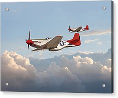 P51 Mustangs - Red Tails Acrylic Print by Pat Speirs