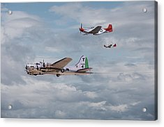 P51 Red Tails - Bringing Them Home Acrylic Print by Pat Speirs