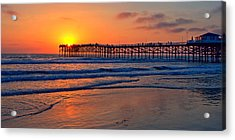 Pacific Beach Pier - Ex Lrg - Widescreen Acrylic Print by Peter Tellone