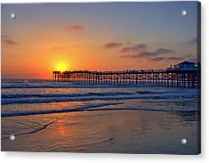 Pacific Beach Pier Sunset Acrylic Print by Peter Tellone