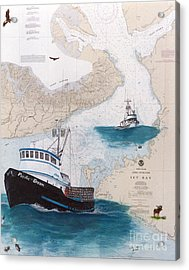 Pacific Dream Crab Fishing Boat Nautical Chart Art Acrylic Print by Cathy Peek