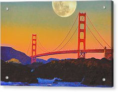 Acrylic Print featuring the painting Pacific Sunset - Golden Gate Bridge And Moonrise by Douglas MooreZart