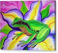 Pacific Tree Frog And Flower Acrylic Print by Nick Gustafson