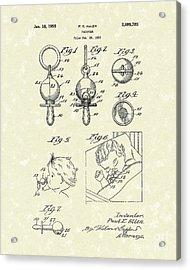Pacifier 1955 Patent Art Acrylic Print