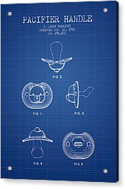 Pacifier Handle Patent From 1988 - Blueprint Acrylic Print