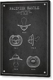 Pacifier Handle Patent From 1988 - Charcoal Acrylic Print