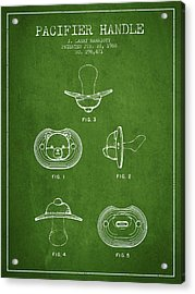 Pacifier Handle Patent From 1988 - Green Acrylic Print