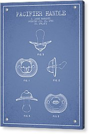Pacifier Handle Patent From 1988 - Light Blue Acrylic Print