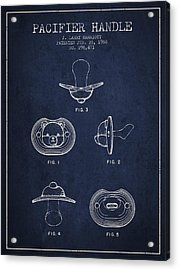 Pacifier Handle Patent From 1988 - Navy Blue Acrylic Print